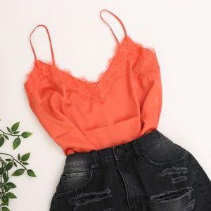 NWT Orange Lace Trim Top Medium